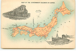 Map Of The Government Railways In Japan - Otros