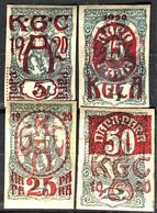 YOUGOSLAVIA 1920 - Sc# 4LB1, 4LB2, 4LB3, 4LB5 - Newspaper Stamps - Timbres Pour Journaux