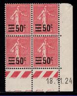 FRANCE N°224* TYPE SEMEUSE COIN DATE DU 18/11/24 - ....-1929