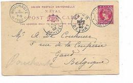 "SH 0908. NATAL. EP Hig. & G. 7a (avec 3 VUES ""Ladysmith.."" DURBAN 15 AOÛT 02 V. GAND - REEXPEDIEE DEPÔT-RELAIS BOUCHAUTE - Natal (1857-1909)"