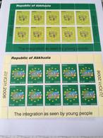 2 FEUILLETS 10 TP NEUFS EUROPA 2006 REPUBLIQUE ABKHASIE (Géorgie) - L'INTEGRATION - 2006
