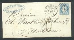 Gros Chiffres 217 Sur N° 60  Taxe Allemande 20 PFGS Sur Partie De Lettre Audincourt 30 Decembre 1871 - 1849-1876: Periodo Clásico