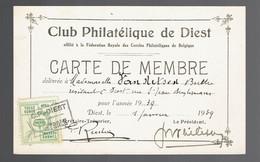 Carte De Membre Club Philatélique De Diest 1939 Avec Timbre Fédéral - Non Classificati