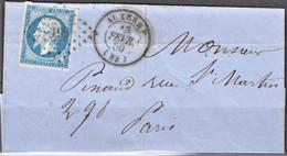 Lettre  Du 13 Février 1860 , PC 199 ,  Auxerre , Département : 83 - 1849-1876: Klassieke Periode