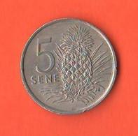 Western Samoa 5 Sene 1974 Nickel Coin - Samoa