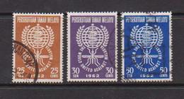 MALAYAN  FEDERATION    1962    Malaria  Eradication    Set  Of  3       USED - Federation Of Malaya