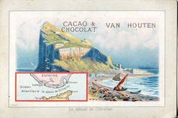 Chromos .n° 23383. Cacao Et Chocolat Van Houten. Le Detroit De Gibraltar . - Van Houten