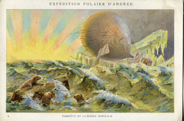 Chromos .n° 23384. Cacao Et Chocolat Van Houten. Expedition Polaire D Andree. Tempete Et Lumiere Boreale . - Van Houten