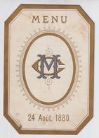 MENU BRUGGE 24 AOUT 1880   14 X 10 CM  ZIE MEERDERE AFBEELDINGEN  Mr. CHARLES TERNEU - Menus