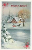 1036 - CARTE BONNE ANNEE CHEVAL TRAINEAU MAISONS SAPINS RIVIERE . ESP 1598 - Neujahr
