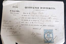 Quittance D'intérêts Berlaimont 1874 Petit Papier - Manoscritti