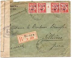 Maroc : 10c Mouchon X4 (paire Millésime 3) Sur Lettre Recommandée De 1916 - Censure - Briefe U. Dokumente
