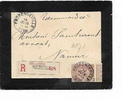 SH 0909. N° 61 Càd PROFONDEVILLE 16 JUIN 1900 S/petite Enveloppe De DEUIL RECOMMANDEE Vers Namur. TB - 1893-1900 Thin Beard