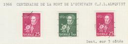SUEDE USED YVERT 544/45 & 544a Carl Jonas Love Almqvist - Used Stamps