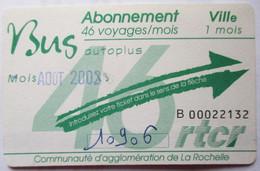 TICKET TITRE TRANSPÖRT UN MOIS BUS 2003 LA ROCHELLE - Andere
