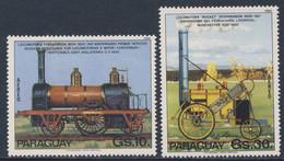 "Paraguay 1981 Mi 3366 +3367 Aero **  Stephenson- Lokomotive + Lokomotive ""Rocket"" - Steam Locomotives / Damplokomotieven - Treni"