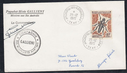 TAAF 1972 Insects 1v Cover Ca Kerguelen 29/12/1972, Signature Cdt Gallieni (52216) - Cartas