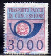 ITALIA REPUBBLICA ITALY REPUBLIC 1984 PACCHI IN CONCESSIONE PARCEL POST STELLE STARS LIRE 3000 USATO USED OBLITERE' - Colis-concession