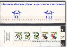 Finland 1991 Birds, Tit (Parus Major, Chaffinch (Fringilla Coelebs),  Bullfinch  Mi 1139-1141 In Booklet MH 28, MNH(**) - Nuevos