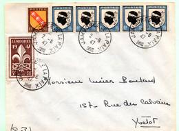 """Enveloppe Entière 2.8.1947, Jour D'émission Du Timbre """"Jamboree"""" Compléments """"Blasons Corse Et Lorraine"""", Au Tarif - Storia Postale"""