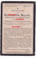 Oorlog Guerre Raymond De MUYNCK Soldaat 5 Lansiers Gesneuveld Te Diksmuide 14 Jan 1916 Aalter Kaaskerke Lancers - Devotieprenten