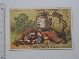 CHROMO LIEBIG: Série S123 (Les Aventures D'un éléphant) 1883-1885 - Cornac Singe Mahout Repos Sieste - Liebig