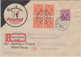 AM-Post - 4x8+12 Pfg. Illustr. Einschreibebrief Wörth - Regensburg 1946 - American/British Zone