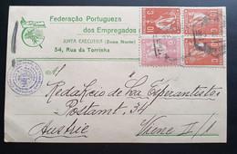 Portugal 1892, Postkarte MiF PORTO Gelaufen Wien - Brieven En Documenten