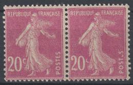 Semeuse N°190 Variété C Partiel Et POSTES Sans E Tenant à Normal - 1906-38 Säerin, Untergrund Glatt