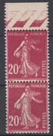 """Semeuse N°190 Variété République Française """"maigre"""" Tenant à Normal - 1906-38 Säerin, Untergrund Glatt"""