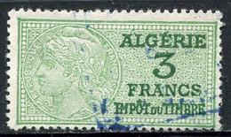 "ALGERIE TIMBRE FISCAL OBLITERE  "" ALGERIE  3 FRANCS IMPOT DU TIMBRE "" - Used Stamps"