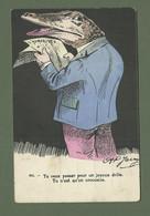 CARTE POSTALE FANTAISIE HUMORISTIQUE ILLUSTRATEUR JARRY N° 851 CROCODILE - Dressed Animals