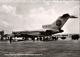 ! S/w Ansichtskarte  Düsenjet, Boeing 727, PanAm, Flughafen Berlin Tempelhof - 1946-....: Era Moderna