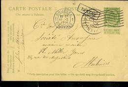 Entier , Obl. Brussel 10/01/1911 + Griffe De TERTRE (encadrée) - Langstempel