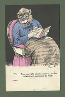 CARTE POSTALE FANTAISIE HUMORISTIQUE ILLUSTRATEUR JARRY N° 835 SINGE - Dressed Animals