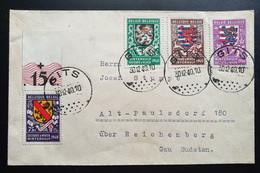 Belgien 1940, Brief Mi 536-39 GITS Gelaufen Reichenberg - Lettres & Documents