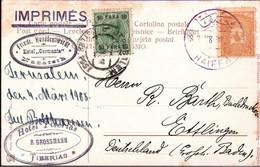 ! Alte Ansichtskarte Jerusalem, Tempelplatz, Haiffa, österreichische Post, Gel. Nach Ettlingen - Palestine