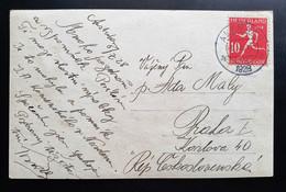 "Niederlande 1928, Postkarte ALKMAR Mi 210 Olympia"" Gelaufen Prag - Cartas"