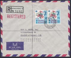 HONG KONG - UK 1970, R-Airmal To SWITZERLAND, Postage Pair Regular Issue 65 C. + 4-block 10 C. On Backside - Asia (Other)