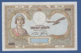 YUGOSLAVIA - P.29 – 1.000 Dinara 1931 - AUNC Serie T.0480 540 - Jugoslavia