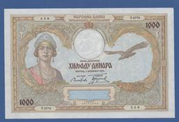 YUGOSLAVIA - P.29 – 1.000 Dinara 1931 - AUNC Serie T.0779 558 - Jugoslavia