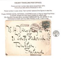 Zu 67A ⦿ AMBULANT No 38 29XI86 10 + LUZERN (Gr. 43) Sur Enveloppe Pour DUBLIN Voir Description Pas De Renouvellement - Briefe U. Dokumente