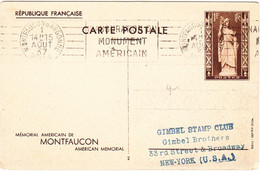 FRANCE Carte Postale  Yvert No. 9 - Entiers à Services Spéciaux, Montfaucon, 1 Aout 1937 Vers USA - Standard Postcards & Stamped On Demand (before 1995)