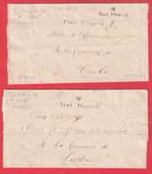 MARQUE MANUSCRIT CONQUIS 85 FORT HERCULE MONACO UNE ANNOTATION SUR UNE DES 2 LETTRES REPONDU FORT HERCULE 1795 AN 3 - ...-1885 Prephilately