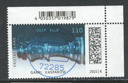 Duitsland 2021 Mi 3595  25 Jahre Schachcomputer  Hoekblok,  Prachtig Gestempeld - Gebruikt