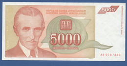 YUGOSLAVIA - P.128 – 5.000 Dinara 1993 - XF/UNC  Prefix AB 9767346 - Jugoslavia
