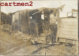 PHOTOGRAPHIE ANCIENNE : ACCIDENT DE TRAIN WAGON STATION ZUG CRASH LOCOMOTIVE TRENO LOKOMOTIVE RAILWAY - Trenes