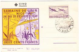 FRANCE Carte Semaine De L'air, Nice, 17 Fév. 1947 - Yvert No. 540 - Covers & Documents