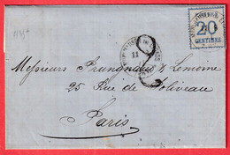 ALSACE LORRAINE N°6 MULHOUSE HAUT RHIN BELLE TAXE TAMPON 2 POUR PARIS - Alsace Lorraine