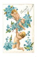 Anges Avec Arc Et Fleche - Fleurs Bleue - AN202 - Angels